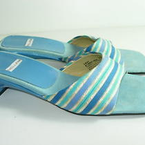 Womens Aqua Blue Gold Tan Beige Bellini Slides Sandals High Heels Shoes Size 7 M Photo