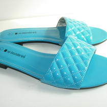 Womens Aqua Blue Patent Leather Look Slides Sandals Summer Flats Shoes Size 7 M Photo