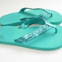 Womens Aqua Blue Rubber Glitter Flip Flops Thongs Sandals Shoes Size 5 5.5 6 M Photo