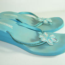 Womens Aqua Blue Silver Rubber Jewels Flip Flops Thongs Wedges Shoes Size 9 M Photo