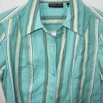 Womens Aqua Blue Tan Black White Cotton Rayon Stripe Blouse Top Shirt Size S 38 Photo