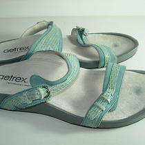 Womens Aqua Light Blue Leather Aetrex Orthopedic Slides Sandals Shoes Size 9 W Photo