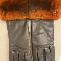 Womens Authentic Chanel Brown Leather Cashmere Fur Gloves Size 7 Preowned Photo
