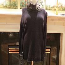 Womens Authentic Tory Burch Charcoal Grey Black Turtleneck Sweater Xl/l Worn 1x Photo