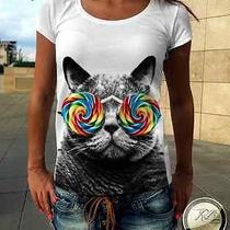 Womens Awesome Selfie Funny Cat Sunglasses Printed White T Shirt Tank Top Celine Photo