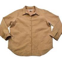 Womens Bagatelle Beige Suede Leather Long Shirt Jac Coat Jacket Size Xl Photo