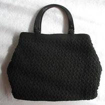 Womens Bags & Handbags Liz Claiborne Black Rayon Crochet Purse Acrylic Handlenew Photo