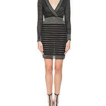 Womens Balmain Black Silver Deep v-Neck Striped Bodycon Mini Dress Size 38 F 4 U Photo