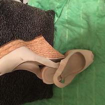 Womens Banana Republic Slingback White Leather Peep Toe Wedge Shoes Sz 10 Photo