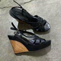 Womens Bandolino Black Open Toe Wooden Wedge Sandal Heels Sz 7.5 Euc Photo