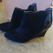 Womens Bandolino Black Suede/patent Leather Wedge Bootie Sz 9.5 Photo