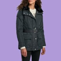 Womens Barbour International Outlaw Jacket Dark Navy Size 8 Hood Waterproof 229 Photo