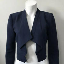 Womens Bcbg Franco Dark Navy Crop Blazer Jacket Size Medium M Career Style Photo