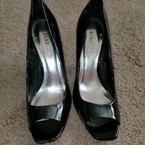 Womens Bcbg Generation Black Patent Leather Open Toe Heels Size 7.5  Photo
