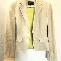 Womens Bcbg Linen Blazer Jacket Coat Suit Oatmeal Tan Khaki Neon Lining Size 2  Photo
