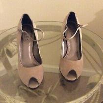 Womens Bcbg Suede Cream Ankle Strap Heel Size 38/8b Photo