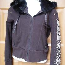 Womens Bebe Hoodie Jacket Small Black Rabbit Fur Bling Rhinestones Photo