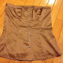 Womens Bebe Size Xs Top Sexy Strapless Corset Brown Rhinestone Button Up Euc Photo