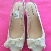 Womens Beige/neutral/straw Shoes/sandals Rampage 11m Wedge/sling New W/o Box Photo