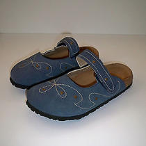 Womens Betula by Birkenstock Mary Jane Slip on Blue Suede Mules Sz 9 Excellent Photo