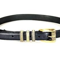 Womens Black Brighton Leather Belt Gold Toned Buckle Detailing Usa M Photo