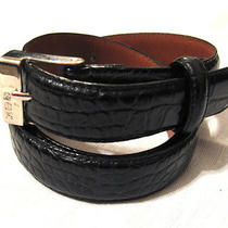 Womens Black Croc Embossed Ralph Lauren Leather Belt Size Small Photo