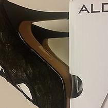 Womens Black Lace Heels  Photo