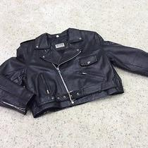 Womens Black Leather Cafe Racer Biker Motorcycle Jacket Size L Fashion Elements Photo
