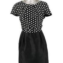Womens Black Polka Dot Sara Campbell Sheath Dress Short Sleeve Lined Career L 12 Photo