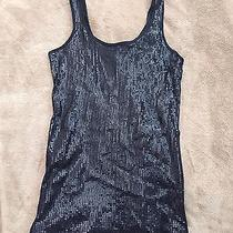 Womens Black Sequin Tank Top Express Brand Size S Photo