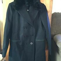 Womens Black Wool Dress Coat Size 8 French Connection Photo