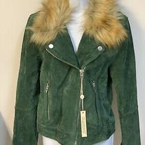 Womens Blank Nyc Green Suede Fur Collar Moto Jacket From Nordstrom Size Large Photo
