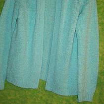  Womens Blouse Sweater Sz L Acrylic Fly Away Cardigan Aqua Le Roy Photo
