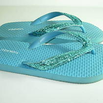 Womens Blue Aqua Rubber Glitter Flip Flops Thongs Sandals Shoes Size 5 5.5 6 M Photo