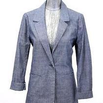Womens Blue Fossil Lightweight Chambray Blazer Jacket Modern Casual Cotton M Photo