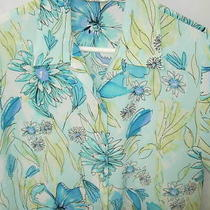 Womens Blue White Black Lime Poly Hawaiian Island Aloha Blouse Shirt Size S 40 Photo