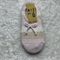Womens Blush Pink Gold Cream Shimmery Bow Slipper Socks One Size Nwt Cozy Warm Photo
