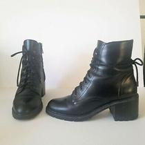 Womens Boots Joie Combat Ankle Black Leather Heel  Photo