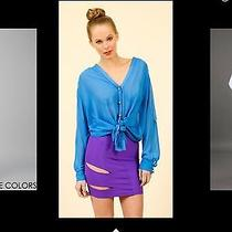 Womens Boulee Open Back Blue Button Sheer Top Blouse Size 0 Xs Photo