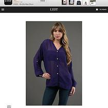 Womens Boulee Open Back Dark Purple Button Sheer Top Size 0 Xs New With Tags Photo