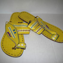 Womens Bright Yellow Purple Aqua Flip Flop Sandals L Photo