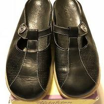 Womens Brighton Erin Black Leather Slides Mules Shoes Us 8 M Made Italy W/ Box Photo