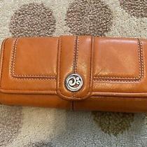 Womens Brighton Leather Trifold Wallet Tan Orange  Photo