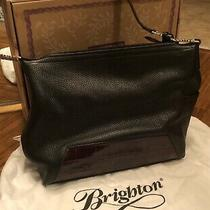 Womens Brighton Purse Handbag Black Leather Brown Croc Patent Leather Accents Photo