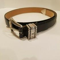 Womens Brighton Sz M 30 4b303 Black Leather Snakeskin Look Belt Silver Hardware Photo