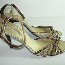 Womens Bronze Gold Silver Leather via Spiga Sandals High Heels Shoes Size 8.5 M Photo