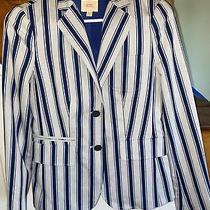 Womens Brooks Brothers Business Jacket Blazer Striped Navy Blue Gray Size 2 Photo