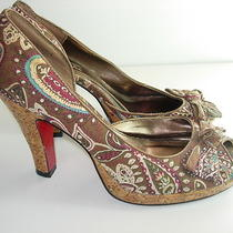 Womens Brown Aqua Paisley Peep Toe High Heels Pumps Career Shoes Size 7.5 M Photo