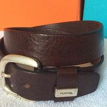 Womens Brown Fossil Textured Soft Leather Belt With Silver Buckle Size Medium 30 Photo