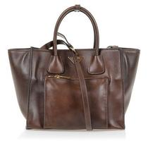 Womens Brown Leather Purse Prada Luxury Shoulder Tote Snap Shut Gold-Plated  Photo